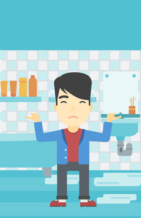 An asian man with spread arms standing near leaking sink in the bathroom vector flat design illustration. Vertical layout. Illustration