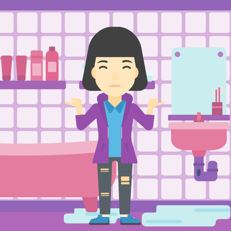 flood damage: An asian woman with spread arms standing near leaking sink in the bathroom vector flat design illustration. Square layout.