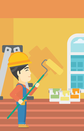 An asian painter in overalls with a paint roller in hands. Painter painting walls with a paint roller in an apartment. Vector flat design illustration. Vertical layout. Illustration