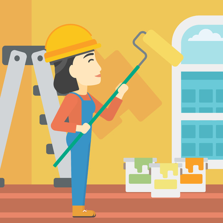 An asian female painter in overalls with a paint roller in hands. Painter painting walls with a paint roller in an apartment. Vector flat design illustration. Square layout.