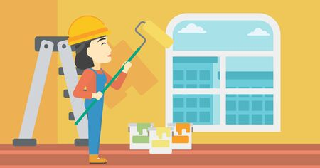An asian female painter in overalls with a paint roller in hands. Painter painting walls with a paint roller in an apartment. Vector flat design illustration. Horizontal layout. Illustration