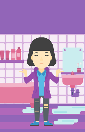 desperation: An asian woman with spread arms standing near leaking sink in the bathroom vector flat design illustration. Vertical layout.
