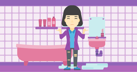leaking: An asian woman with spread arms standing near leaking sink in the bathroom vector flat design illustration. Horizontal layout. Illustration