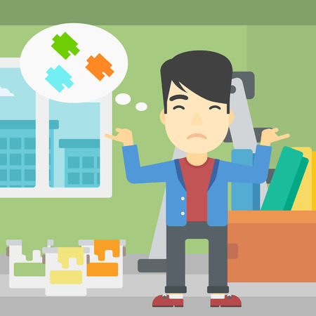 choosing: A doubtful asian man choosing color for walls in apartment. Man with spread arms choosing a color of paint. Vector flat design illustration. Square layout. Illustration