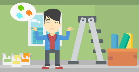 choosing: A doubtful asian man choosing color for walls in apartment. Man with spread arms choosing a color of paint. Vector flat design illustration. Horizontal layout. Illustration