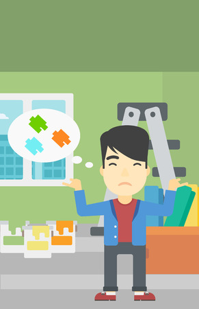 choosing: A doubtful asian man choosing color for walls in apartment. Man with spread arms choosing a color of paint. Vector flat design illustration. Vertical layout. Illustration