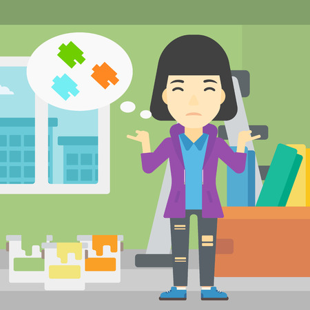 doubtful: A doubtful asian woman choosing color for walls in apartment. Woman with spread arms choosing a color of paint. Vector flat design illustration. Square layout.