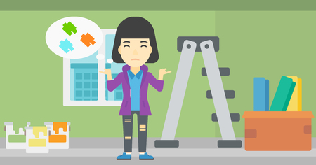 doubtful: A doubtful asian woman choosing color for walls in apartment. Woman with spread arms choosing a color of paint. Vector flat design illustration. Horizontal layout.