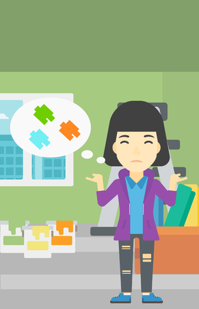 doubtful: A doubtful asian woman choosing color for walls in apartment. Woman with spread arms choosing a color of paint. Vector flat design illustration. Vertical layout.