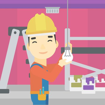 screwing: An asian electrician twisting a light bulb. An electrician installing light in an apartment. Electrician changing light bulb. Vector flat design illustration. Square layout.