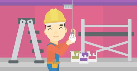 screwing: An asian electrician twisting a light bulb. An electrician installing light in an apartment. Electrician changing light bulb. Vector flat design illustration. Horizontal layout.