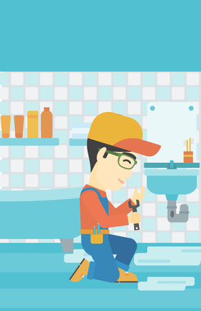 wash basin: An asian plumber sitting in a bathroom and repairing sink pipe. Plumber with wrench repairing a broken sink in bathroom. Vector flat design illustration. Vertical layout.