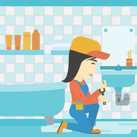 An asian female plumber sitting in a bathroom and repairing sink pipe. Plumber with wrench repairing a broken sink in bathroom. Vector flat design illustration. Square layout.