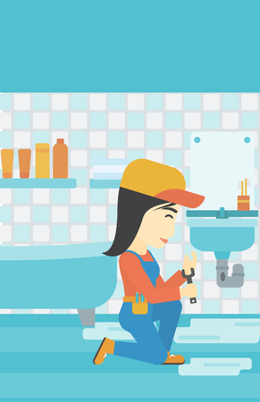 An asian female plumber sitting in a bathroom and repairing sink pipe. Plumber with wrench repairing a broken sink in bathroom. Vertical layout. Illustration