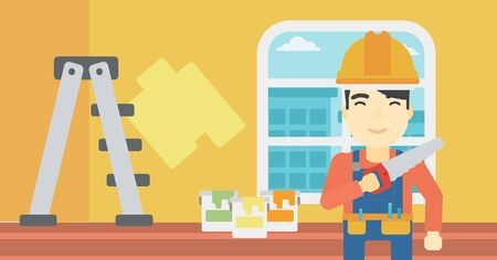 paint can: An asian worker holding a saw in hand. A man in overalls and hard hat with saw in apartment. Vector flat design illustration. Horizontal layout.
