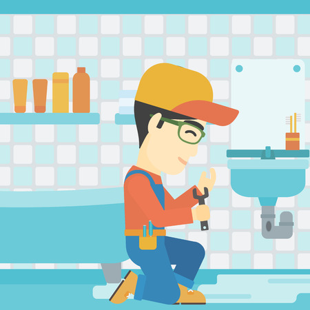 An asian plumber sitting in a bathroom and repairing sink pipe. Plumber with wrench repairing a broken sink in bathroom. Vector flat design illustration. Square layout. Illustration