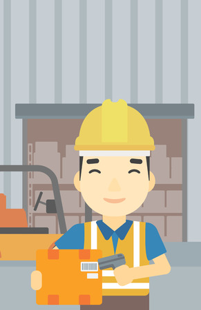 warehouse worker: An asian warehouse worker scanning barcode on box. Warehouse worker checking barcode of box with a scanner. Man in hard hat with scanner. Vector flat design illustration. Vertical layout.