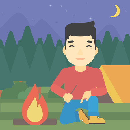 kindling: An asian man kindling a campfire on the background of camping site with tent. Tourist relaxing near campfire. Vector flat design illustration. Square layout. Illustration