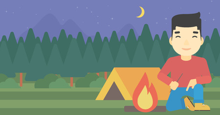 kindling: An asian man kindling a campfire on the background of camping site with tent. Tourist relaxing near campfire. Vector flat design illustration. Horizontal layout. Illustration