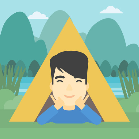 cheek: An asian man crawling out from a camping tent. Man with his hands on cheek lying in camping tent and relaxing. Vector flat design illustration. Square layout.