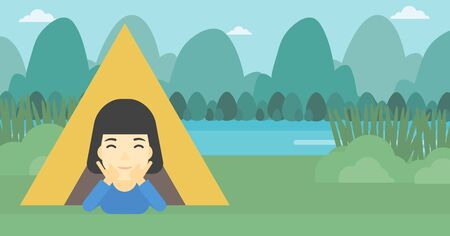 cheek: An asian woman crawling out from a camping tent. Travelling woman with her hands on cheek lying in camping tent and relaxing. Vector flat design illustration. Horizontal layout.