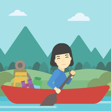basic shape: An asian woman riding in a kayak on the river with a skull in hands and some tourist equipment behind her. Woman traveling by kayak. Vector flat design illustration. Square layout.