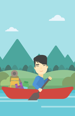 An asian man riding in a kayak on the river with a skull in hands and some tourist equipment behind him. Man traveling by kayak. Vector flat design illustration. Vertical layout.