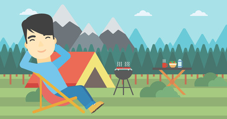 camper: An asian man sitting in a folding chair in the camp. Man relaxing and enjoying his camping holiday near the tent. Vector flat design illustration. Horizontal layout.