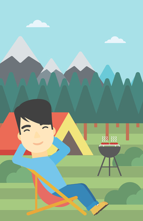 basic shape: An asian man sitting in a folding chair in the camp. Man relaxing and enjoying his camping holiday near the tent. Vector flat design illustration. Vertical layout. Illustration