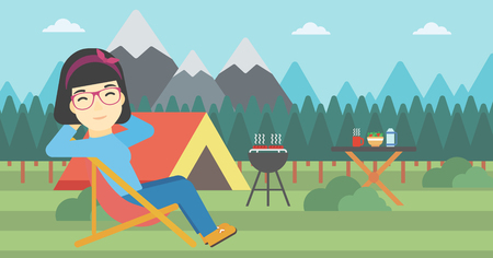 An asian woman sitting in a folding chair in the camp. Travelling woman relaxing and enjoying her camping holiday near the tent. Vector flat design illustration. Horizontal layout. Illustration