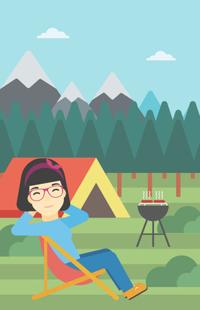 basic shape: An asian woman sitting in a folding chair in the camp. Travelling woman relaxing and enjoying her camping holiday near the tent. Vector flat design illustration. Vertical layout. Illustration