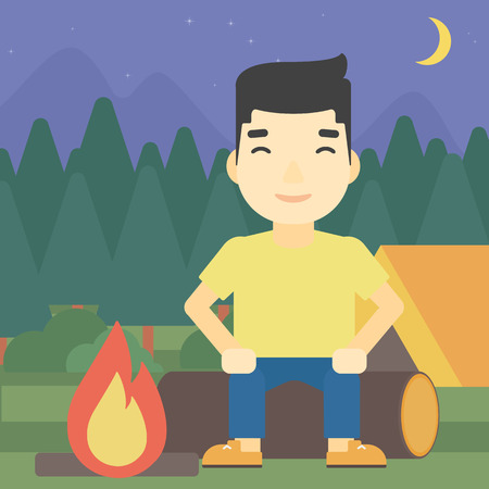 camping site: An asian travelling man sitting on a log near a fire on a background of camping site with tent. Man sitting near a campfire at a campsite. Vector flat design illustration. Square layout. Illustration