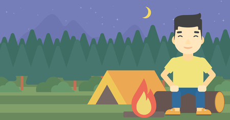 campsite: An asian travelling man sitting on a log near a fire on a background of camping site with tent. Man sitting near a campfire at a campsite. Vector flat design illustration. Horizontal layout. Illustration