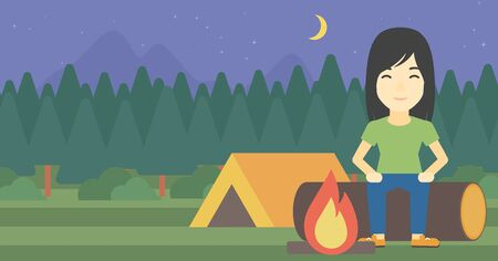 campsite: An asian woman sitting on a log near a fire on a background of camping site with tent. Woman sitting near a campfire at a campsite. Vector flat design illustration. Horizontal layout. Illustration
