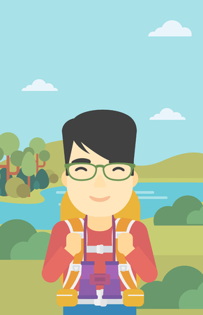 An asian man walking in the mountains. Male traveler with backpack and binoculars. Backpacker hiking in mountains. Vector flat design illustration. Vertical layout.