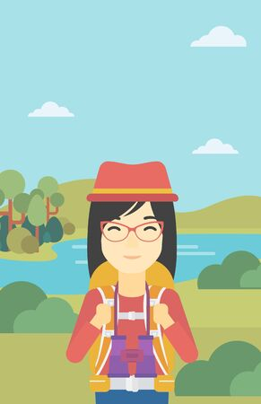backpacker: An asian woman with backpack walking in the mountains. Female backpacker with binoculars. Female traveler hiking in mountains. Vector flat design illustration. Vertical layout.