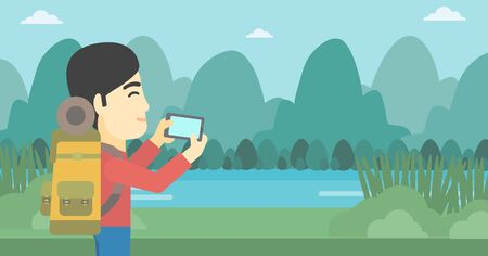 taking photo: An asian man taking photo of landscape with mountains. Young man with backpack taking photo with his cellphone. Vector flat design illustration. Horizontal layout. Illustration