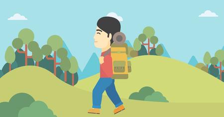 An asian man hiking in mountains. Traveler with backpack mountaineering. Hiking man with backpack walking outdoor. Vector flat design illustration. Horizontal layout.