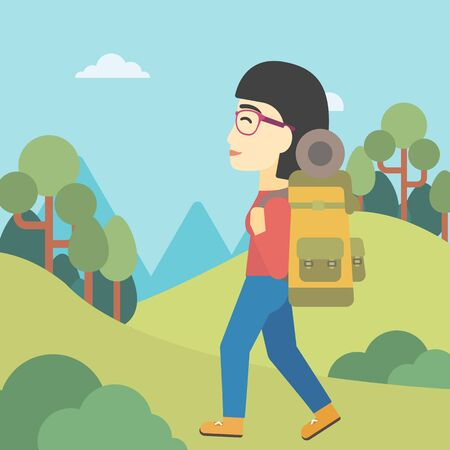 An asian woman hiking in mountains. Female traveler with backpack mountaineering. Hiking woman with backpack walking outdoor. Vector flat design illustration. Square layout. Illustration