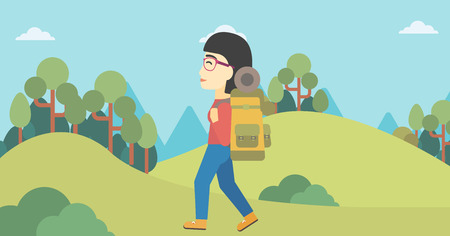 woman hiking: An asian woman hiking in mountains. Female traveler with backpack mountaineering. Hiking woman with backpack walking outdoor. Vector flat design illustration. Horizontal layout.