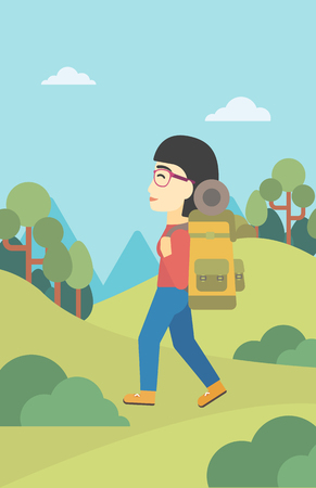 An asian woman hiking in mountains. Female traveler with backpack mountaineering. Hiking woman with backpack walking outdoor. Vector flat design illustration. Vertical layout. Illustration