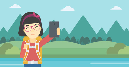 An asian woman making selfie on the background of mountains. Travelling woman with backpack taking photo with cellphone. Vector flat design illustration. Horizontal layout.