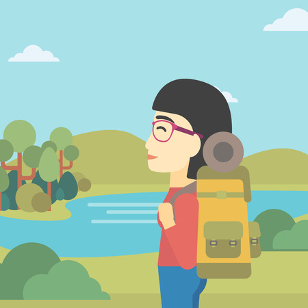 woman hiking: An asian woman with backpack enjoying the view of landscape with mountains and lake. Vector flat design illustration. Square layout.