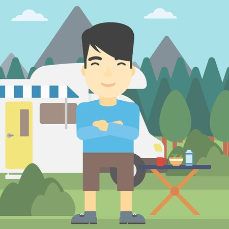 motor home: An asian man standing in front of motor home. Young man with arms crossed enjoying vacation in camper van. Vector flat design illustration. Square layout.