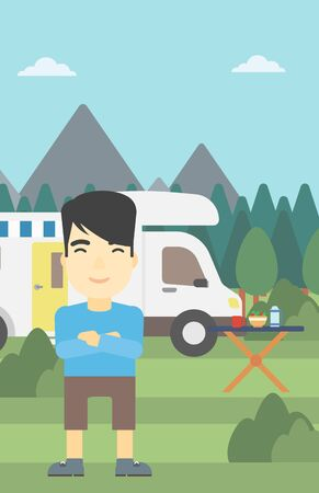 basic shape: An asian man standing in front of motor home. Young man with arms crossed enjoying vacation in camper van. Vector flat design illustration. Vertical layout.