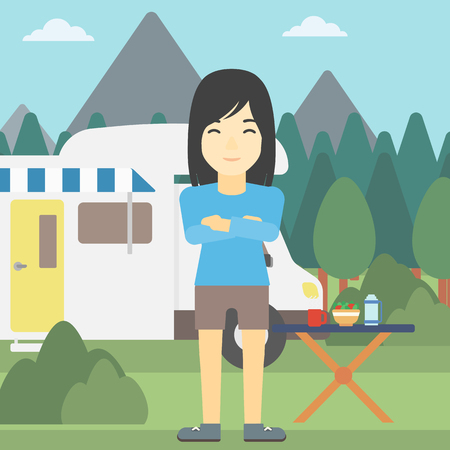 motor home: An asian woman standing in front of motor home. Woman with arms crossed enjoying vacation in camper van. Woman travelling by camper van. Vector flat design illustration. Square layout.