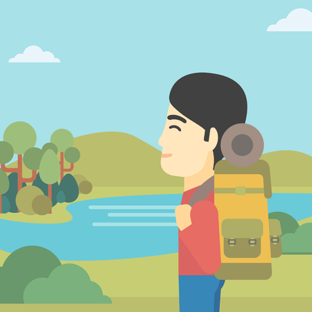 basic shape: An asian man with backpack enjoying the view of landscape with mountains and lake. Vector flat design illustration. Square layout. Illustration