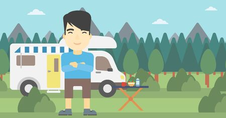 An asian man standing in front of motor home. Young man with arms crossed enjoying vacation in camper van. Vector flat design illustration. Horizontal layout.