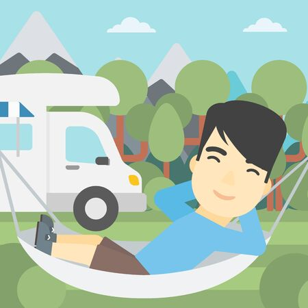 motor home: An asian man lying in a hammock in front of motor home. Man resting in hammock and enjoying vacation in camper van. Vector flat design illustration. Square layout.
