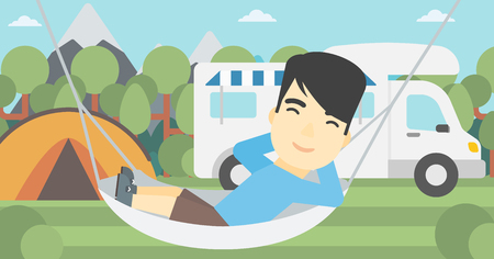 motor home: An asian man lying in a hammock in front of motor home. Man resting in hammock and enjoying vacation in camper van. Vector flat design illustration. Horizontal layout.